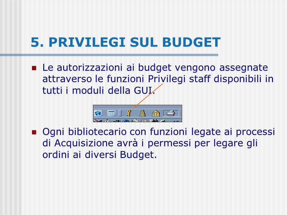 5. PRIVILEGI SUL BUDGET Le autorizzazioni ai budget vengono assegnate attraverso le funzioni Privilegi staff disponibili in tutti i moduli della GUI.