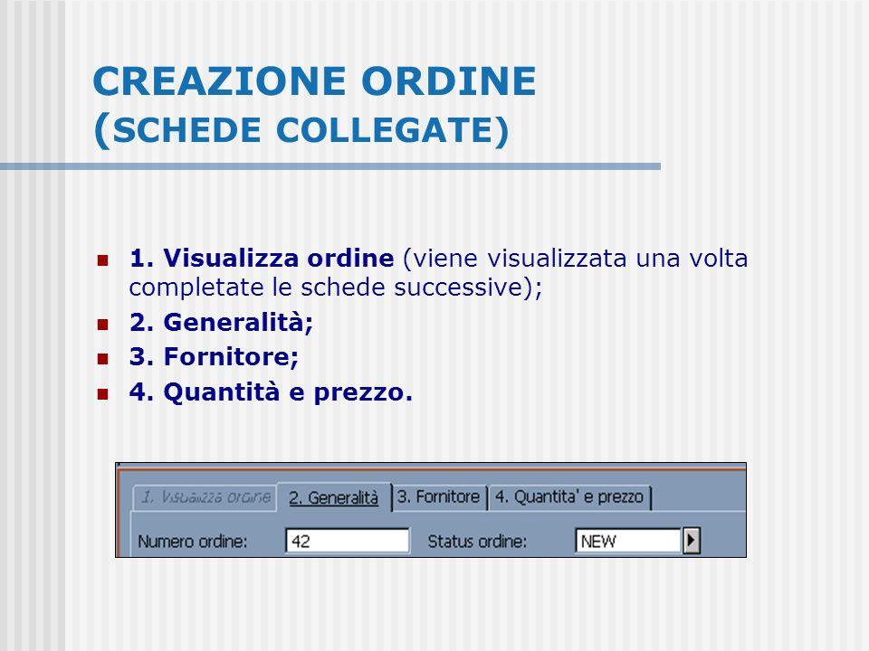 CREAZIONE ORDINE ( SCHEDE COLLEGATE) 1. Visualizza ordine (viene visualizzata una volta completate le schede successive); 2. Generalità; 3. Fornitore;