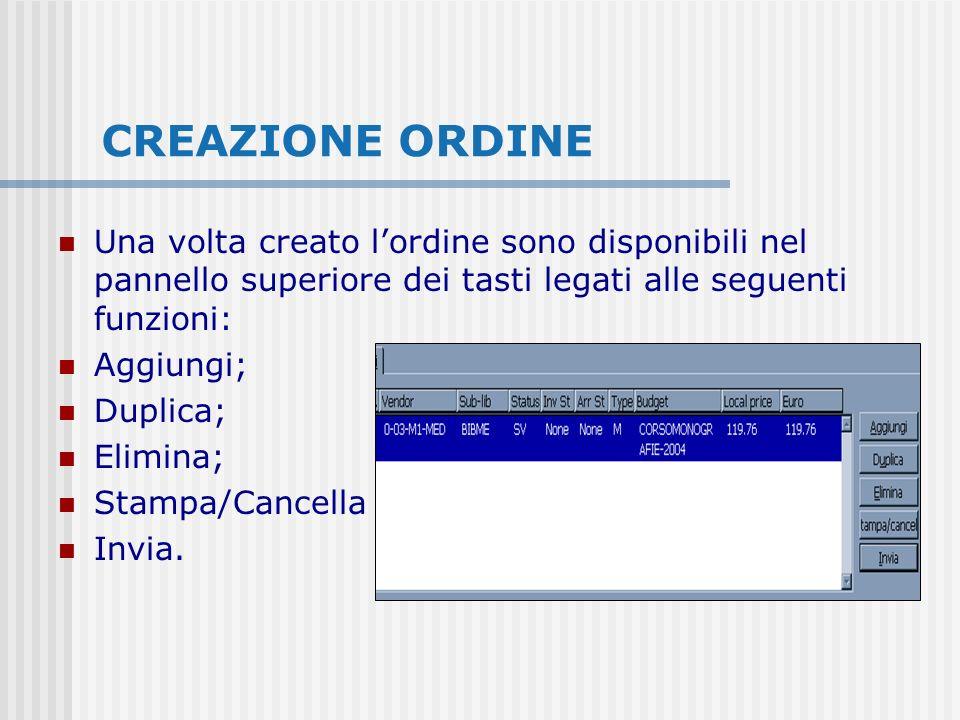 CREAZIONE ORDINE Una volta creato lordine sono disponibili nel pannello superiore dei tasti legati alle seguenti funzioni: Aggiungi; Duplica; Elimina; Stampa/Cancella Invia.