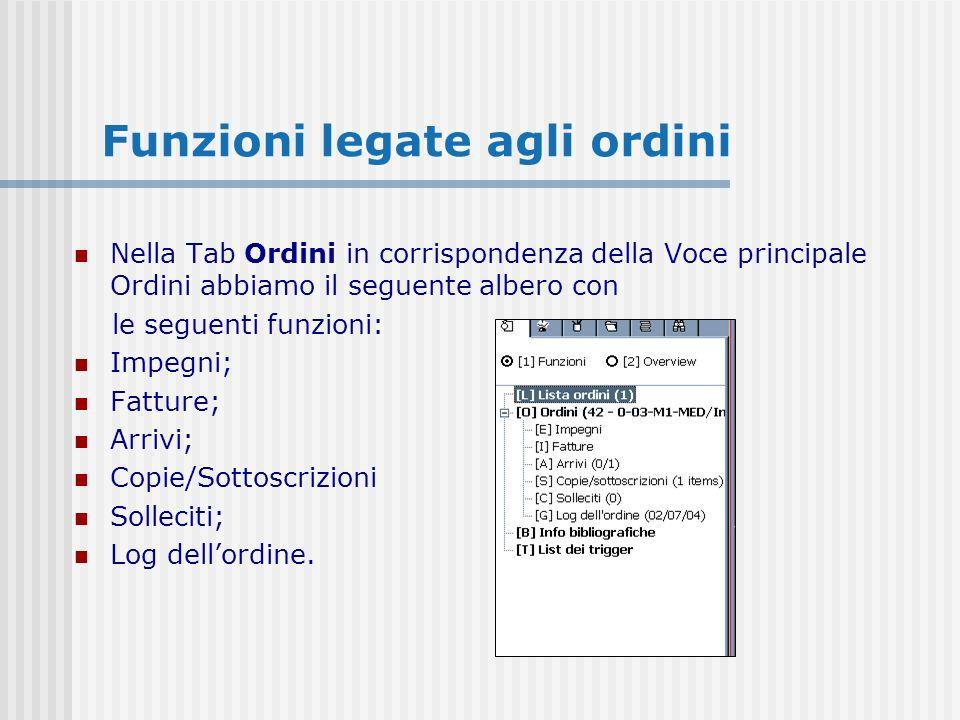 Funzioni legate agli ordini Nella Tab Ordini in corrispondenza della Voce principale Ordini abbiamo il seguente albero con le seguenti funzioni: Impegni; Fatture; Arrivi; Copie/Sottoscrizioni Solleciti; Log dellordine.