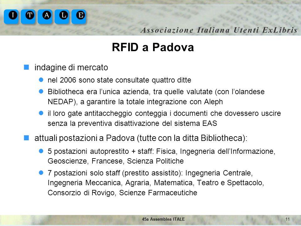 1145a Assemblea ITALE RFID a Padova indagine di mercato nel 2006 sono state consultate quattro ditte Bibliotheca era lunica azienda, tra quelle valuta