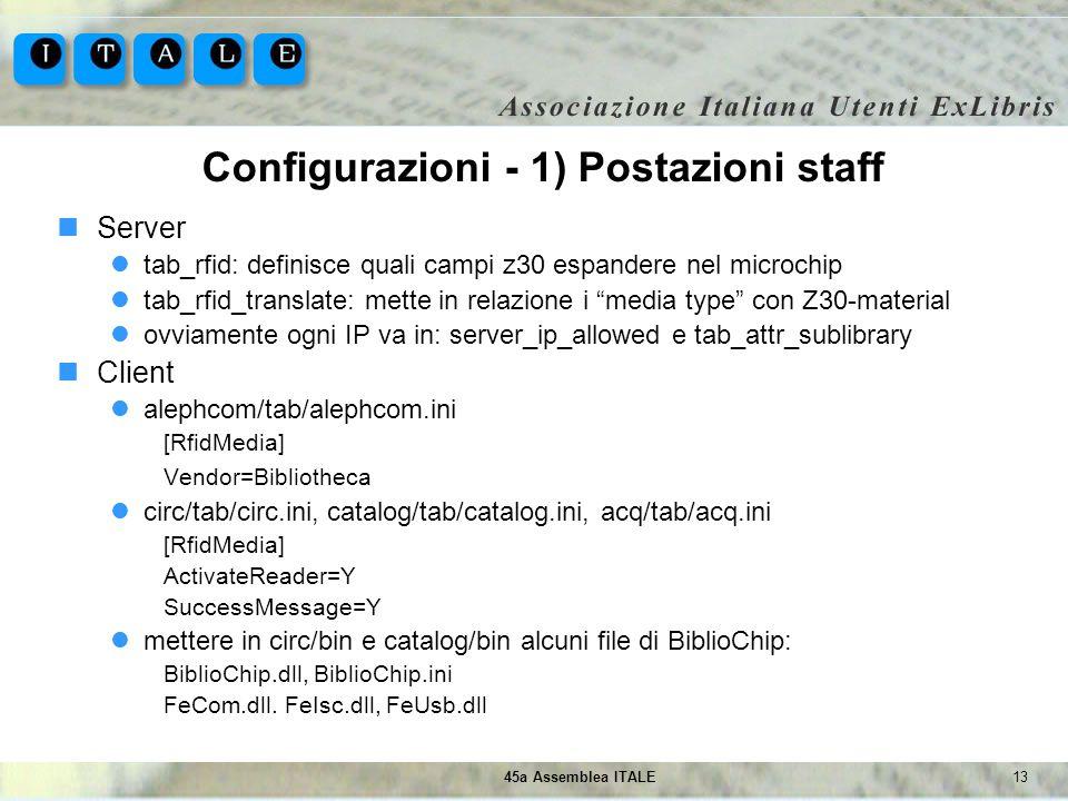 1345a Assemblea ITALE Configurazioni - 1) Postazioni staff Server tab_rfid: definisce quali campi z30 espandere nel microchip tab_rfid_translate: mett