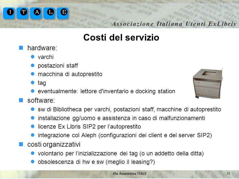 1545a Assemblea ITALE Costi del servizio hardware: varchi postazioni staff macchina di autoprestito tag eventualmente: lettore d'inventario e docking
