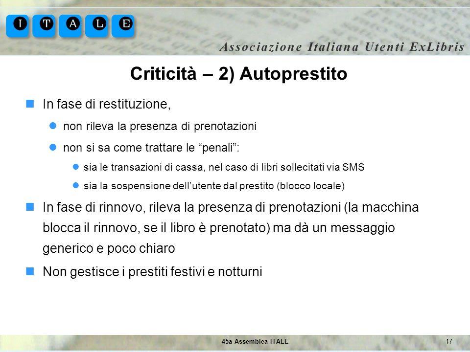 1745a Assemblea ITALE Criticità – 2) Autoprestito In fase di restituzione, non rileva la presenza di prenotazioni non si sa come trattare le penali: s