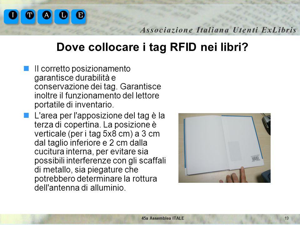 1945a Assemblea ITALE Dove collocare i tag RFID nei libri? Il corretto posizionamento garantisce durabilità e conservazione dei tag. Garantisce inoltr