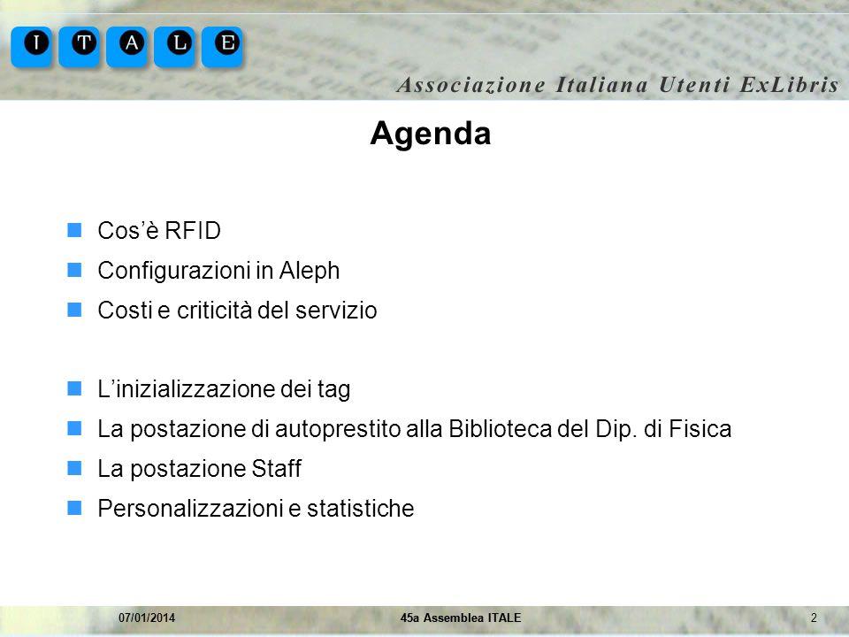 245a Assemblea ITALE07/01/201445a Assemblea ITALE Agenda Cosè RFID Configurazioni in Aleph Costi e criticità del servizio Linizializzazione dei tag La