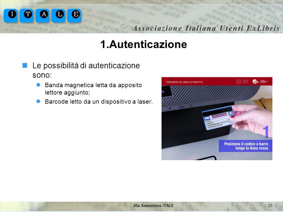 2545a Assemblea ITALE 1.Autenticazione Le possibilità di autenticazione sono: Banda magnetica letta da apposito lettore aggiunto; Barcode letto da un