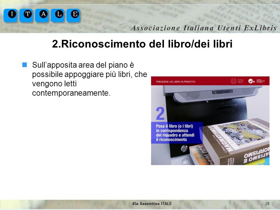 2845a Assemblea ITALE 2.Riconoscimento del libro/dei libri Sullapposita area del piano è possibile appoggiare più libri, che vengono letti contemporan