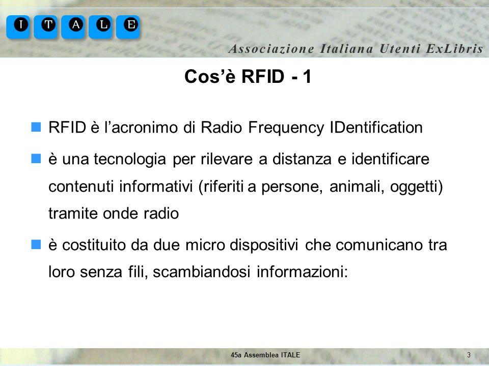 345a Assemblea ITALE Cosè RFID - 1 RFID è lacronimo di Radio Frequency IDentification è una tecnologia per rilevare a distanza e identificare contenut