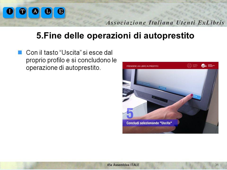 3145a Assemblea ITALE 5.Fine delle operazioni di autoprestito Con il tasto Uscita si esce dal proprio profilo e si concludono le operazione di autopre