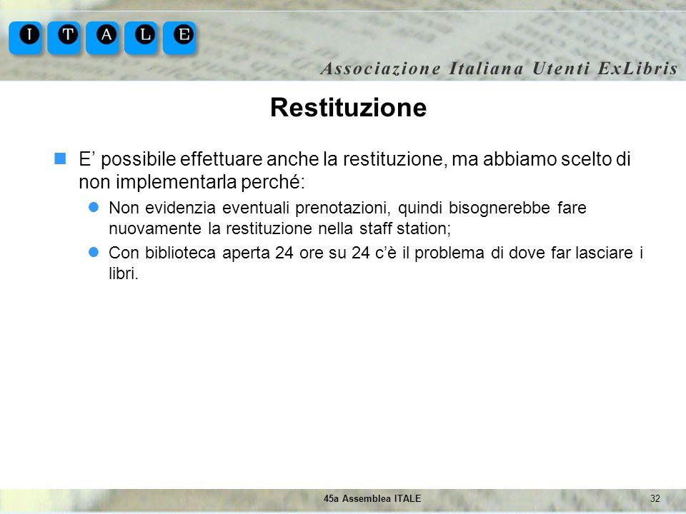 3245a Assemblea ITALE Restituzione E possibile effettuare anche la restituzione, ma abbiamo scelto di non implementarla perché: Non evidenzia eventual