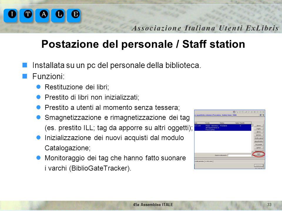 3345a Assemblea ITALE Postazione del personale / Staff station Installata su un pc del personale della biblioteca. Funzioni: Restituzione dei libri; P