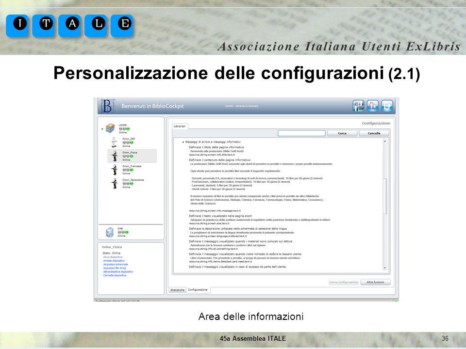 3645a Assemblea ITALE Personalizzazione delle configurazioni (2.1) Area delle informazioni