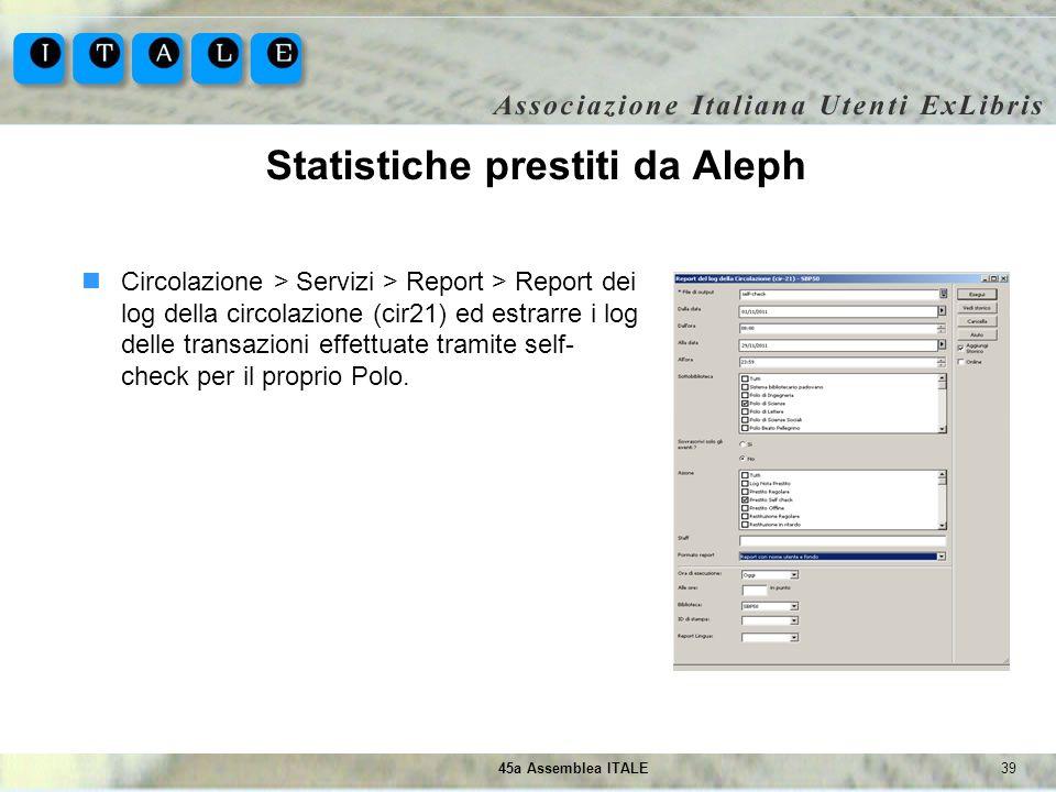 3945a Assemblea ITALE Statistiche prestiti da Aleph Circolazione > Servizi > Report > Report dei log della circolazione (cir21) ed estrarre i log dell