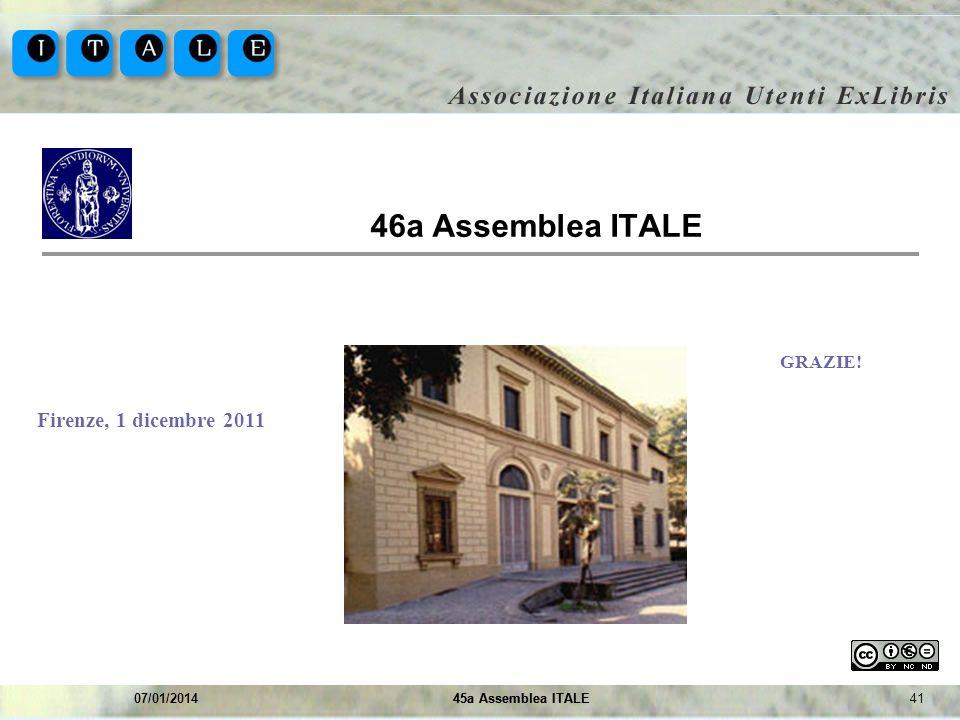 4145a Assemblea ITALE07/01/201445a Assemblea ITALE 46a Assemblea ITALE Immagine sede evento GRAZIE! Firenze, 1 dicembre 2011