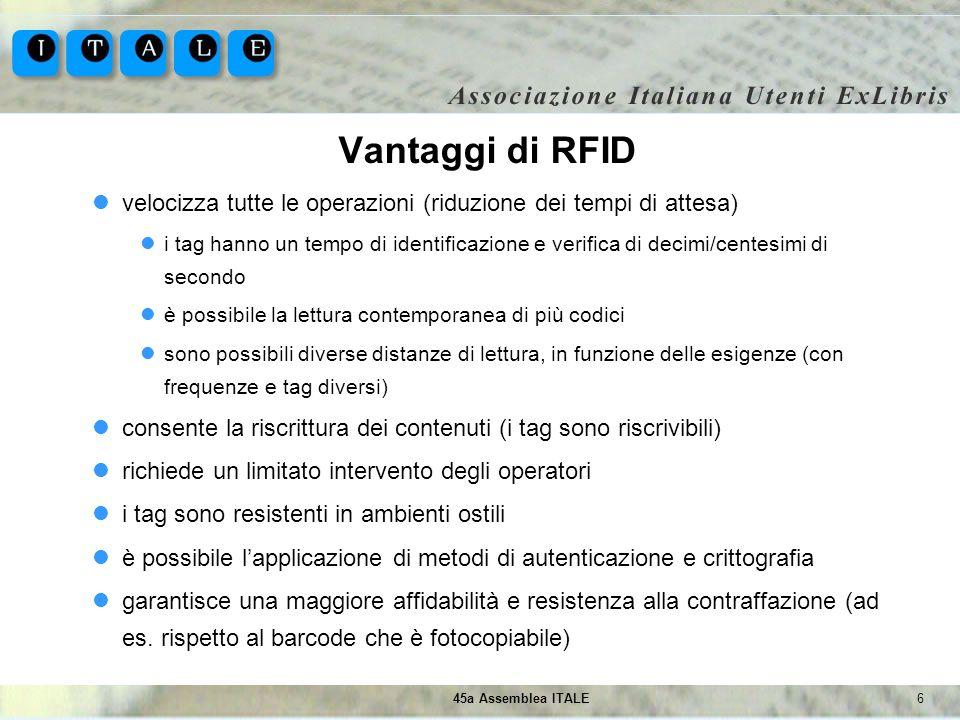 745a Assemblea ITALE RFID in biblioteca RFID viene adottato in biblioteca per: la gestione del prestito (sia assistito che self-service) la gestione degli scaffali (libri fuori posto e controllo inventari) il controllo degli accessi (barriere anti-taccheggio e conta persone integrato)...