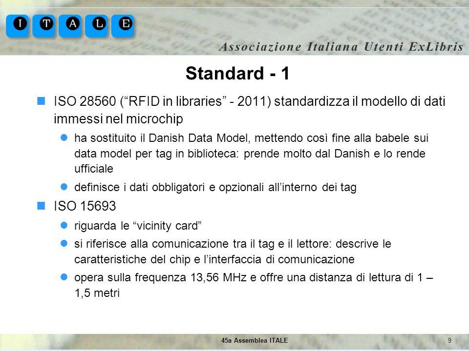 945a Assemblea ITALE Standard - 1 ISO 28560 (RFID in libraries - 2011) standardizza il modello di dati immessi nel microchip ha sostituito il Danish D