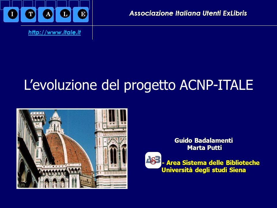 Associazione Italiana Utenti ExLibris Guido Badalamenti Marta Putti Marta Putti ASB - Area Sistema delle Biblioteche Università degli studi Siena Levo