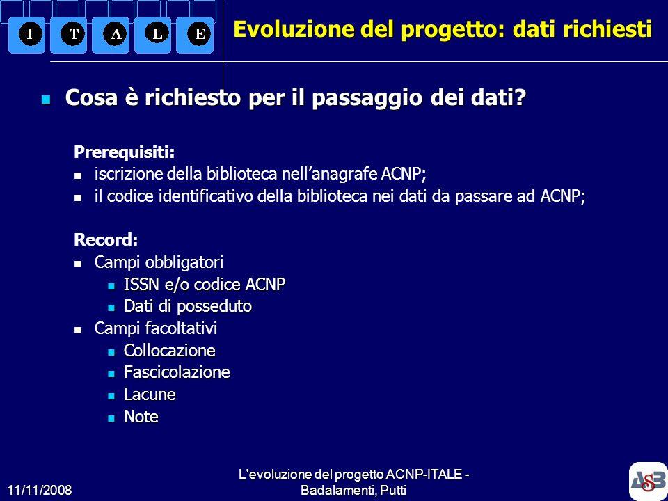 11/11/2008 L'evoluzione del progetto ACNP-ITALE - Badalamenti, Putti11 Evoluzione del progetto: dati richiesti Cosa è richiesto per il passaggio dei d