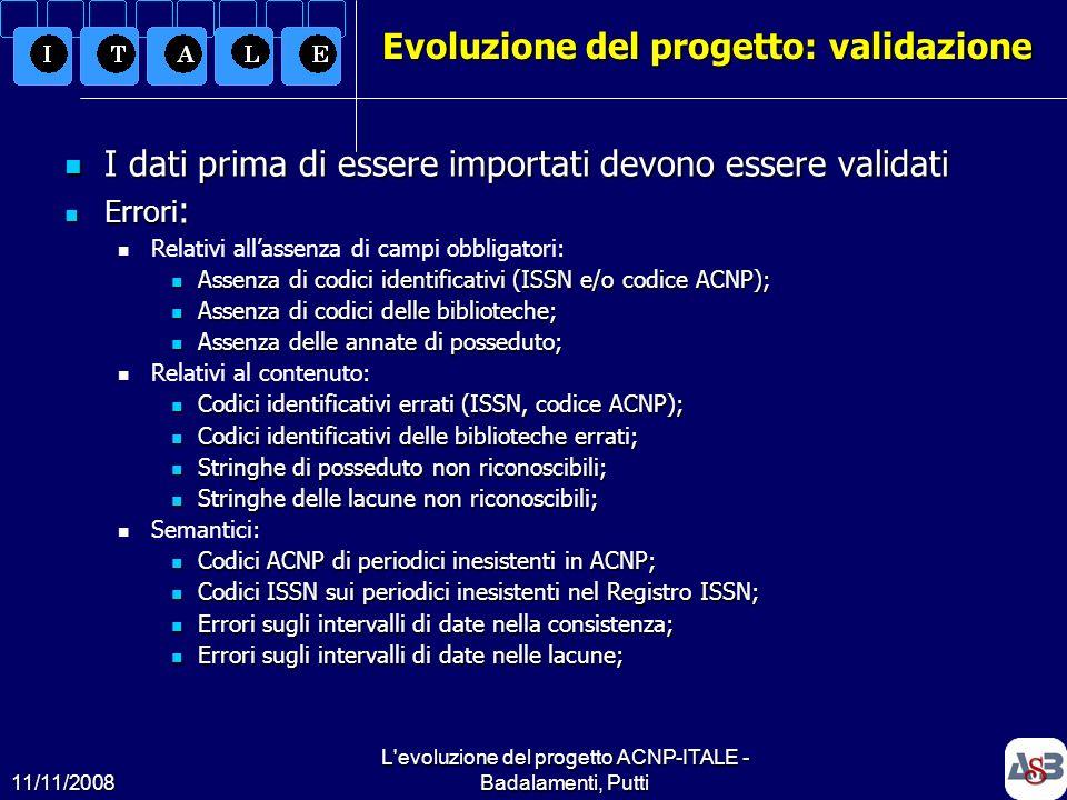 11/11/2008 L'evoluzione del progetto ACNP-ITALE - Badalamenti, Putti12 Evoluzione del progetto: validazione I dati prima di essere importati devono es
