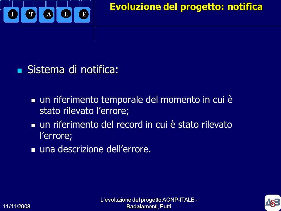 11/11/2008 L'evoluzione del progetto ACNP-ITALE - Badalamenti, Putti13 Evoluzione del progetto: notifica Sistema di notifica: Sistema di notifica: un