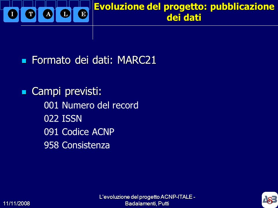 11/11/2008 L'evoluzione del progetto ACNP-ITALE - Badalamenti, Putti14 Evoluzione del progetto: pubblicazione dei dati Formato dei dati: MARC21 Format