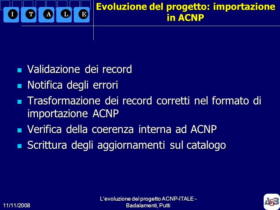 11/11/2008 L'evoluzione del progetto ACNP-ITALE - Badalamenti, Putti15 Evoluzione del progetto: importazione in ACNP Validazione dei record Validazion