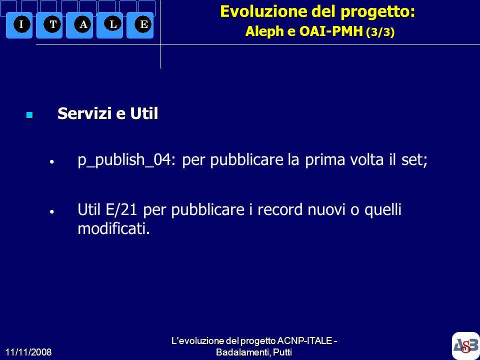 11/11/2008 L'evoluzione del progetto ACNP-ITALE - Badalamenti, Putti18 Evoluzione del progetto: Aleph e OAI-PMH (3/3) Servizi e Util Servizi e Util p_