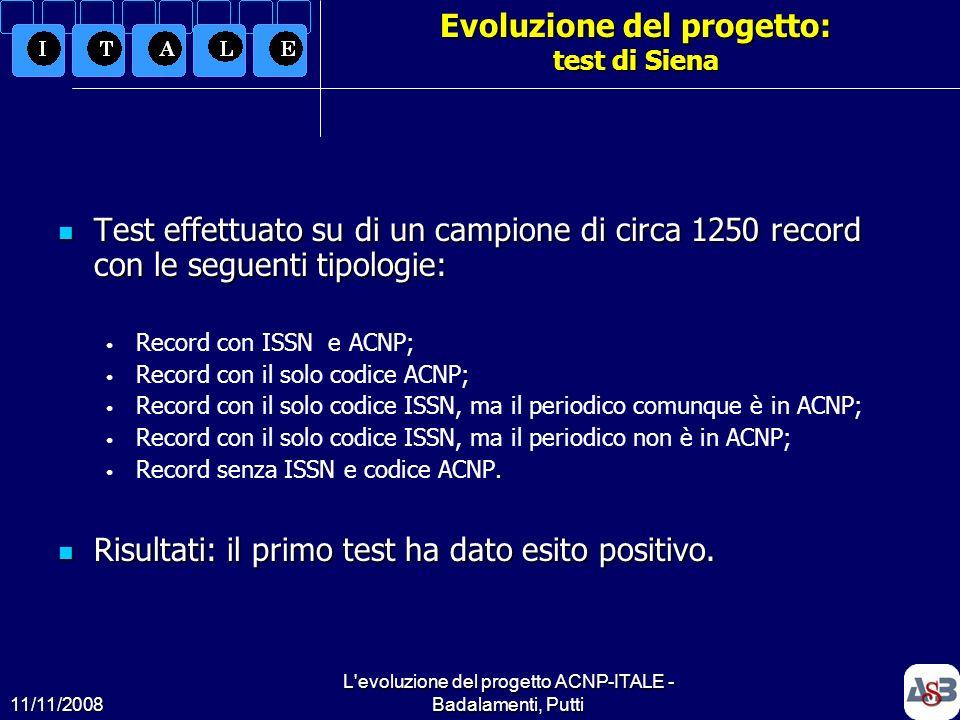 11/11/2008 L'evoluzione del progetto ACNP-ITALE - Badalamenti, Putti19 Evoluzione del progetto: test di Siena Test effettuato su di un campione di cir