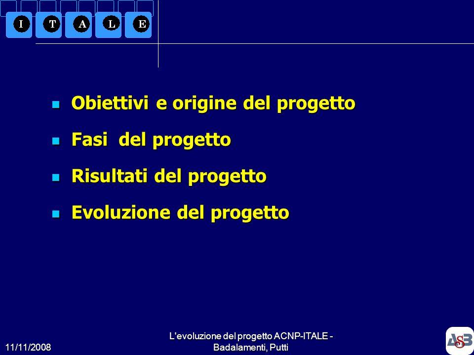 11/11/2008 L'evoluzione del progetto ACNP-ITALE - Badalamenti, Putti2 Obiettivi e origine del progetto Obiettivi e origine del progetto Fasi del proge
