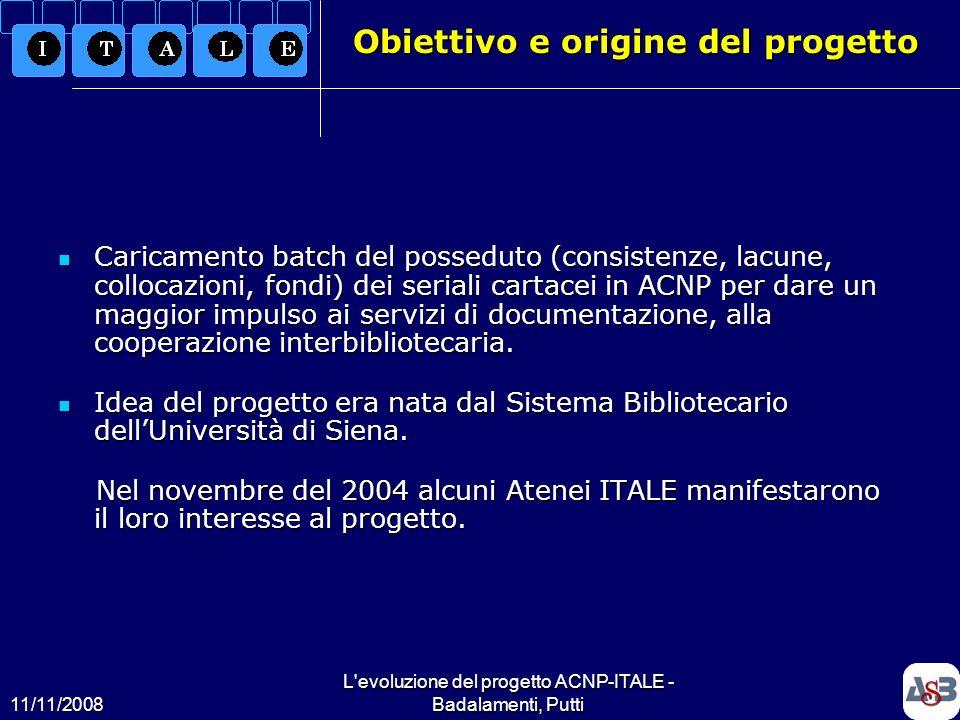 11/11/2008 L'evoluzione del progetto ACNP-ITALE - Badalamenti, Putti3 Obiettivo e origine del progetto Caricamento batch del posseduto (consistenze, l