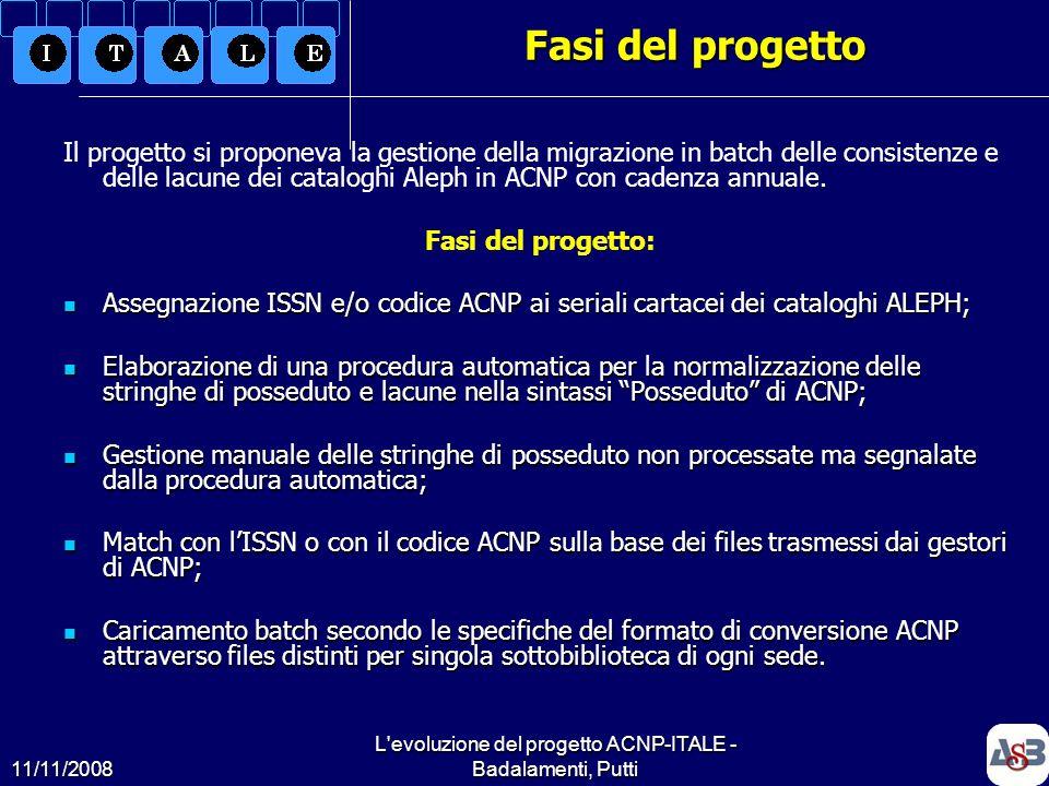 11/11/2008 L'evoluzione del progetto ACNP-ITALE - Badalamenti, Putti4 Fasi del progetto Il progetto si proponeva la gestione della migrazione in batch