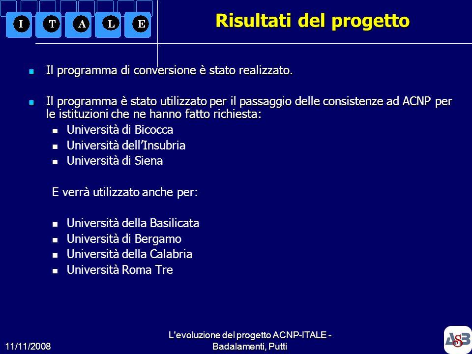 11/11/2008 L'evoluzione del progetto ACNP-ITALE - Badalamenti, Putti5 Risultati del progetto Il programma di conversione è stato realizzato. Il progra