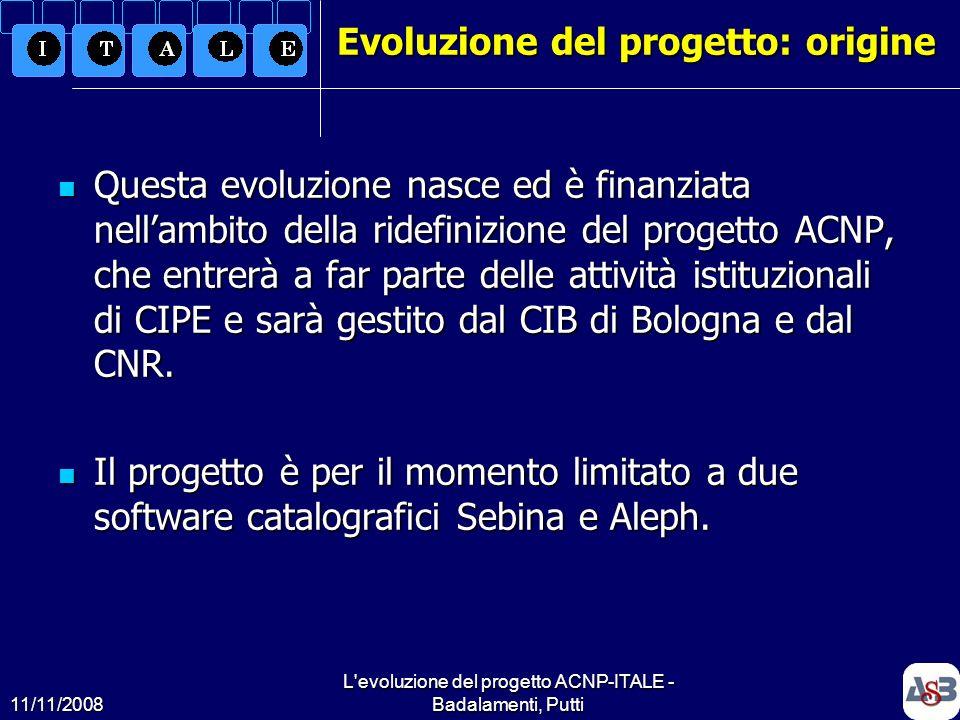 11/11/2008 L'evoluzione del progetto ACNP-ITALE - Badalamenti, Putti7 Evoluzione del progetto: origine Questa evoluzione nasce ed è finanziata nellamb