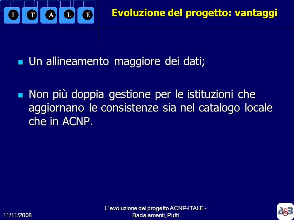 11/11/2008 L'evoluzione del progetto ACNP-ITALE - Badalamenti, Putti9 Evoluzione del progetto: vantaggi Un allineamento maggiore dei dati; Un allineam