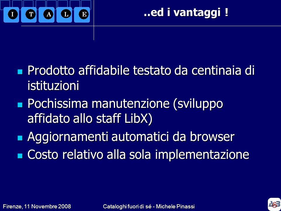 Firenze, 11 Novembre 2008Cataloghi fuori di sé - Michele Pinassi..ed i vantaggi ! Prodotto affidabile testato da centinaia di istituzioni Prodotto aff
