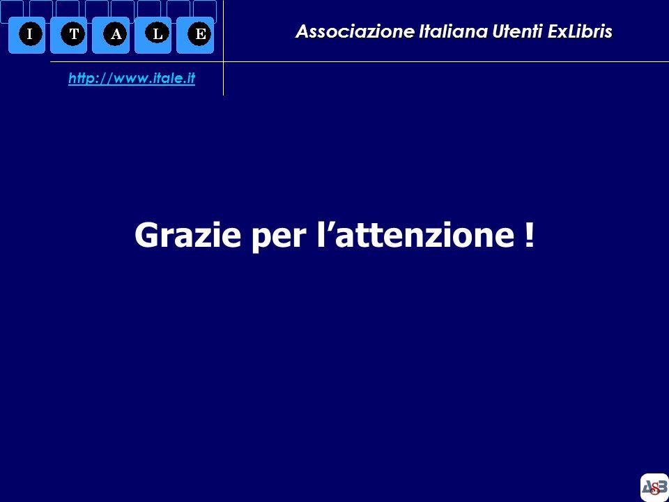 Associazione Italiana Utenti ExLibris Grazie per lattenzione ! http://www.itale.it