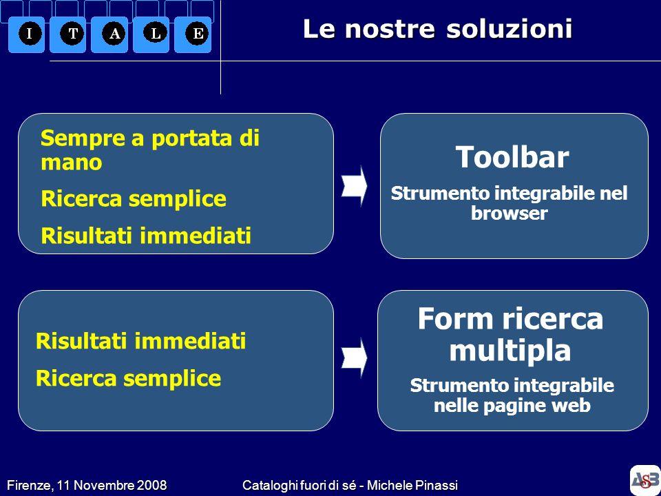 Firenze, 11 Novembre 2008Cataloghi fuori di sé - Michele Pinassi La toolbar Il progetto LibX (www.libx.org) sviluppato dalla Virginia Tech University permette di realizzare una toolbar secondo le specifiche ed il logo della nostra biblioteca.www.libx.org