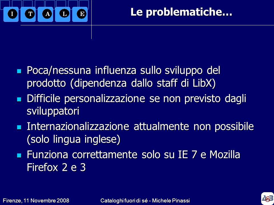 Firenze, 11 Novembre 2008Cataloghi fuori di sé - Michele Pinassi Poca/nessuna influenza sullo sviluppo del prodotto (dipendenza dallo staff di LibX) P