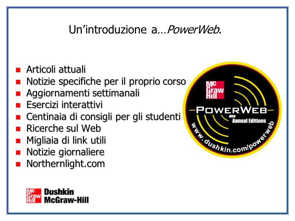 Unintroduzione a…PowerWeb. n Articoli attuali n Notizie specifiche per il proprio corso n Aggiornamenti settimanali n Esercizi interattivi n Centinaia