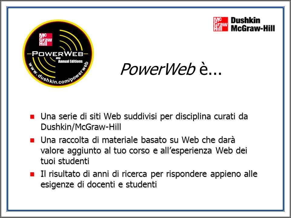 PowerWeb è... n Una serie di siti Web suddivisi per disciplina curati da Dushkin/McGraw-Hill n Una raccolta di materiale basato su Web che darà valore