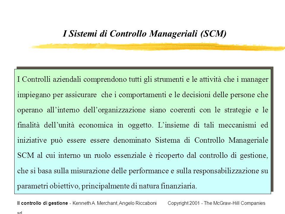Il controllo di gestione - Kenneth A. Merchant, Angelo Riccaboni Copyright 2001 - The McGraw-Hill Companies srl I Controlli aziendali comprendono tutt