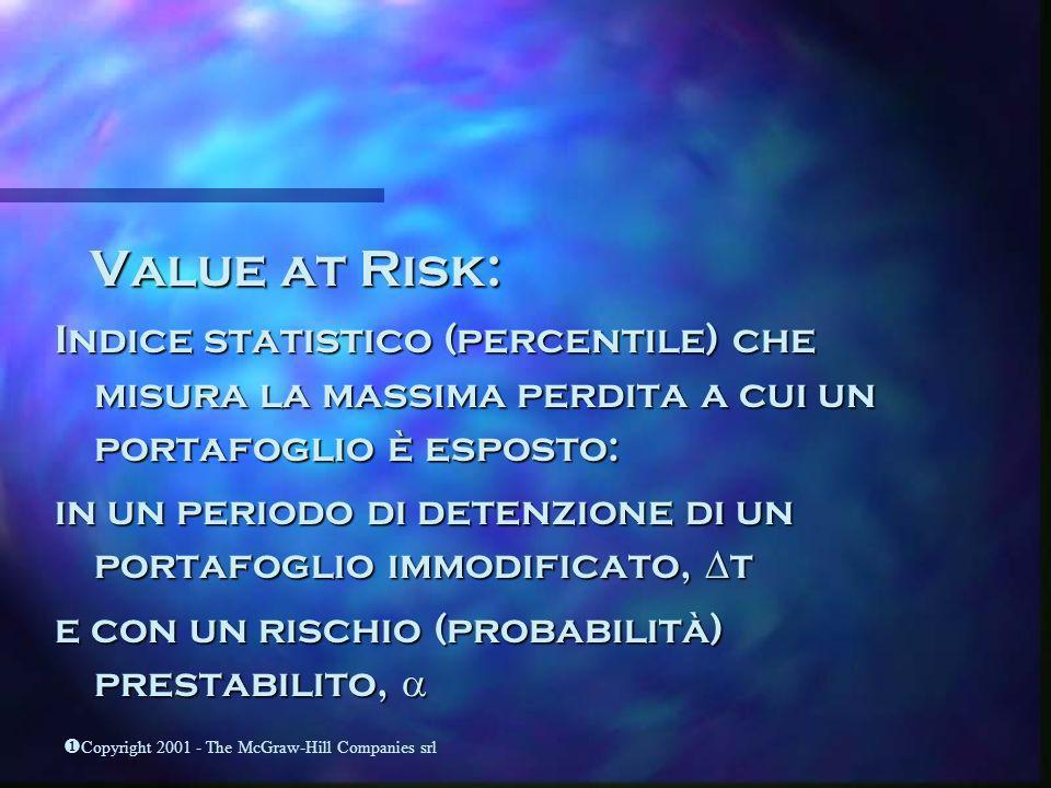 Copyright 2001 - The McGraw-Hill Companies srl Value at Risk: Value at Risk: Indice statistico (percentile) che misura la massima perdita a cui un por