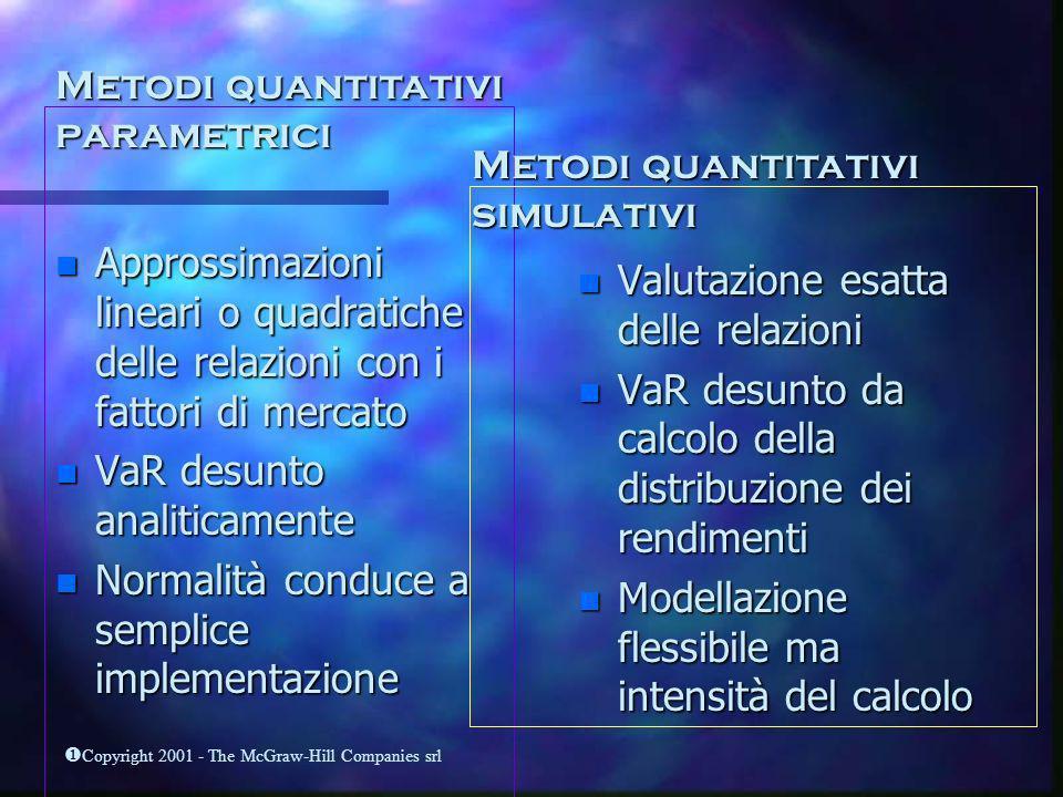 Copyright 2001 - The McGraw-Hill Companies srl Metodi quantitativi parametrici n Approssimazioni lineari o quadratiche delle relazioni con i fattori d