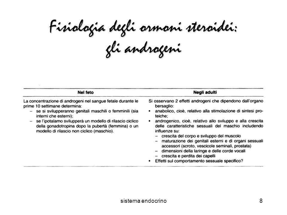 sistema endocrino8 Fisiologia degli ormoni steroidei: gli androgeni