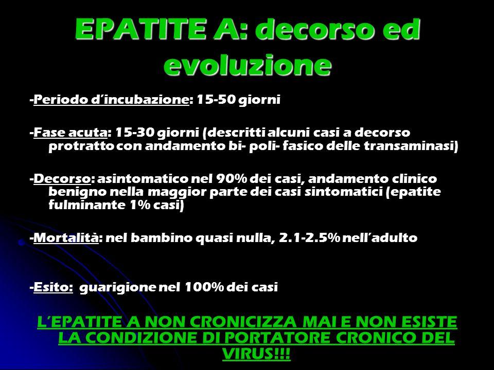 EPATITE A: decorso ed evoluzione -Periodo dincubazione: 15-50 giorni -Fase acuta: 15-30 giorni (descritti alcuni casi a decorso protratto con andament