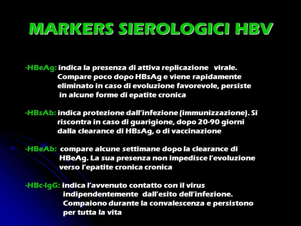 MARKERS SIEROLOGICI HBV -HBeAg: indica la presenza di attiva replicazione virale. Compare poco dopo HBsAg e viene rapidamente eliminato in caso di evo
