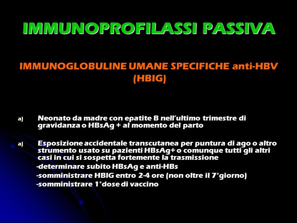 IMMUNOPROFILASSI PASSIVA IMMUNOGLOBULINE UMANE SPECIFICHE anti-HBV (HBIG) a) a) Neonato da madre con epatite B nellultimo trimestre di gravidanza o HB
