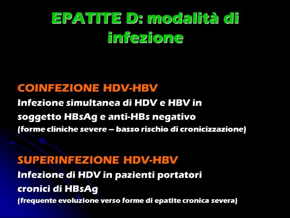 EPATITE D: modalità di infezione COINFEZIONE HDV-HBV Infezione simultanea di HDV e HBV in soggetto HBsAg e anti-HBs negativo (forme cliniche severe –