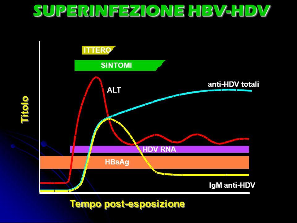 SUPERINFEZIONE HBV-HDV Tempo post-esposizione Titolo ITTERO SINTOMI ALT anti-HDV totali IgM anti-HDV HDV RNA HBsAg